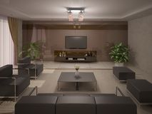 Modern and comfortable living room . Royalty Free Stock Photo