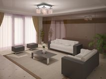 Modern and comfortable living room . Royalty Free Stock Photography