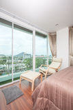 Modern comfortable, nicely bedroom city view Stock Photography