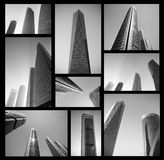 Modern commercieel centrum in zwart-wit Abstract bedrijfsconcept Hoge resolutiedossier Stock Foto's
