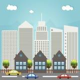 Modern Commercieel Stadsconcept Royalty-vrije Stock Afbeeldingen