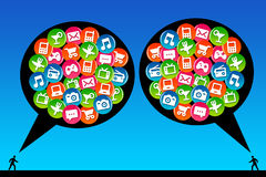 Modern communication. Communicating through apps and social network Stock Images