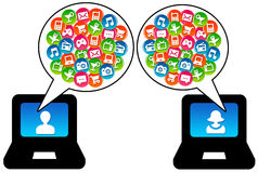 Modern communication. Communicating on the internet, social network and using apps Royalty Free Stock Photo