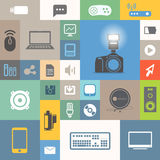 Modern communication icons. On color tiles Royalty Free Stock Photography