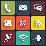 Modern communication signs and icons in Flat Design with shadows Royalty Free Stock Photo