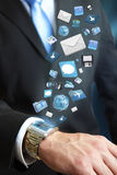 Modern communication technology illustration with mobile phone and tablet in hands of business men Stock Photography