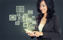 Modern communication technology mobile phone stock photo