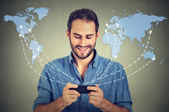Modern communication technology mobile phone. Man holding smartphone Stock Photo