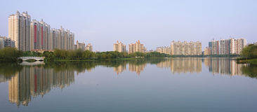 Modern community. Chinese peaceful community with some modern buildings beside the lake Royalty Free Stock Photography