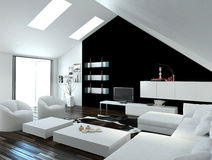 Modern compact loft living room interior. With skylights in the sloping ceiling and white and black decor with a modern suite and cabinets Royalty Free Stock Photo