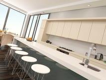 Modern compact open-plan kitchenette stock illustration