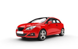Modern Compact Red Car - Front View Stock Photos