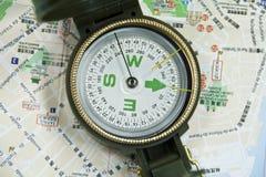 Modern compass on map Stock Photo