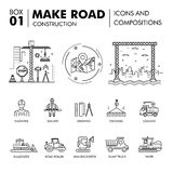 Modern compositions building road construction thin line block f. Lat icons and concept development strategy graph and idea concept architecture information Stock Photo