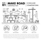 Modern compositions building road construction thin line block f Stock Image