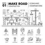 Modern compositions building road construction thin line block f. Lat icons and concept development strategy graph and idea concept architecture information Royalty Free Stock Photos