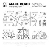 Modern compositions building road construction thin line block f Royalty Free Stock Images