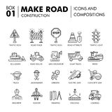 Modern compositions building road construction thin line block f Stock Photos