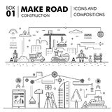 Modern compositions building road construction thin line block f Royalty Free Stock Photos