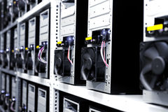 Modern computer cases in a data center Royalty Free Stock Images