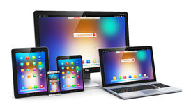 Modern computer devices Royalty Free Stock Photos