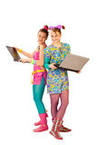 Modern computer girls Royalty Free Stock Photography