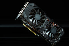 Modern computer graphic card. Modern computer graphic card with aftermarket cooling positioned with commercial value Stock Image