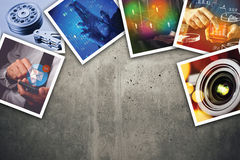 Modern computer information technology photo collage. Stack of tech and internet themed pictures on concrete background with copy space stock photography