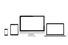 Free Modern Computer Laptop Mobile Phone And Tablet Isolate On White Background For Mockup ,3D Rendering Stock Image - 97673861