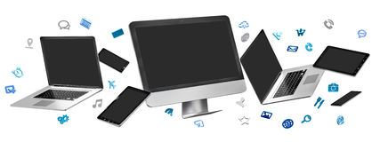 Modern computer laptop mobile phone and tablet connected to each. Other on white background 3D rendering Royalty Free Stock Photo
