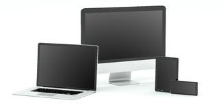 Modern computer laptop mobile phone and tablet 3D rendering Royalty Free Stock Photos