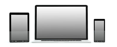 Modern computer laptop mobile phone and tablet 3D rendering. Modern computer laptop mobile phone and tablet on white background 3D rendering Royalty Free Stock Photography