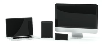Modern computer laptop mobile phone and tablet 3D rendering Stock Photos