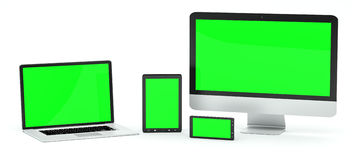 Modern computer laptop mobile phone and tablet 3D rendering. Modern computer laptop mobile phone and tablet on white background 3D rendering Stock Photo