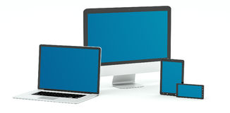 Modern computer laptop mobile phone and tablet 3D rendering. Modern computer laptop mobile phone and tablet on white background 3D rendering Royalty Free Stock Image
