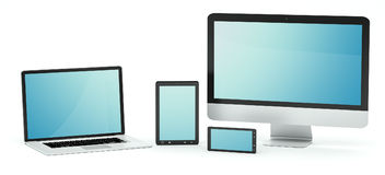 Modern computer laptop mobile phone and tablet 3D rendering. Modern computer laptop mobile phone and tablet on white background 3D rendering Stock Photography