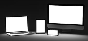 Dark modern computer laptop mobile phone and tablet 3D rendering. Modern computer laptop mobile phone and tablet in the dark 3D rendering Stock Images
