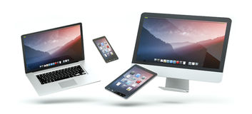 Modern computer laptop mobile phone and tablet floating 3D rende. Modern computer laptop mobile phone and tablet floating over white background 3D rendering Royalty Free Stock Photos