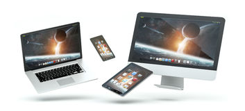 Modern computer laptop mobile phone and tablet floating 3D rende. Modern computer laptop mobile phone and tablet floating over white background 3D rendering Royalty Free Stock Photo
