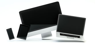 Modern computer laptop mobile phone and tablet floating 3D rende. Modern computer laptop mobile phone and tablet floating over white background 3D rendering Stock Photography