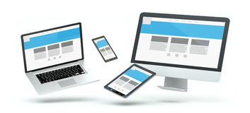 Modern computer laptop mobile phone and tablet floating 3D rende. Modern computer laptop mobile phone and tablet floating over white background 3D rendering Stock Images
