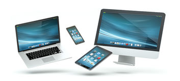 Modern computer laptop mobile phone and tablet floating 3D rende. Modern computer laptop mobile phone and tablet floating over white background 3D rendering Royalty Free Stock Photography