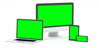 Modern computer laptop mobile phone and tablet 3D rendering Stock Photo