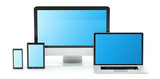 Modern computer laptop mobile phone and tablet 3D rendering. Modern computer laptop mobile phone and tablet on white background 3D rendering Stock Image
