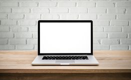 Free Modern Computer,laptop With Blank Screen On Wall Brick Royalty Free Stock Photo - 107021985