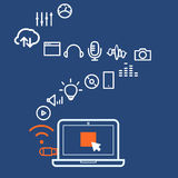 Modern computer media illustration with different icons Stock Images