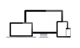 Modern computer and mobile devices. High quality illustration set of modern computer monitor, laptop, digital tablet and mobile phone with blank screen. Isolated Stock Photo