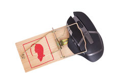 Modern computer mouse in a mousetrap Stock Images