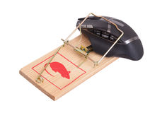 Modern computer mouse in a mousetrap Royalty Free Stock Images