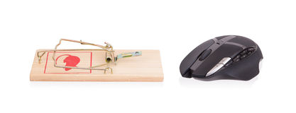 Modern computer mouse in a mousetrap Stock Image